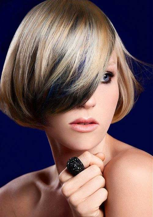 Short Bob Haircut with Blonde and Black Color