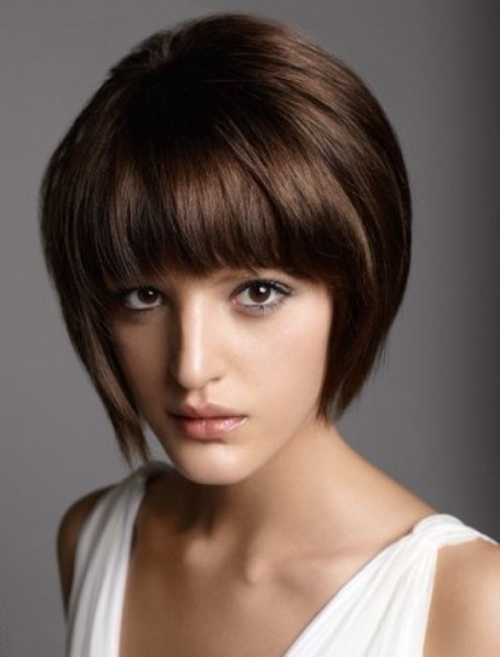 Short Stacked Bob Hairstyles with Bangs