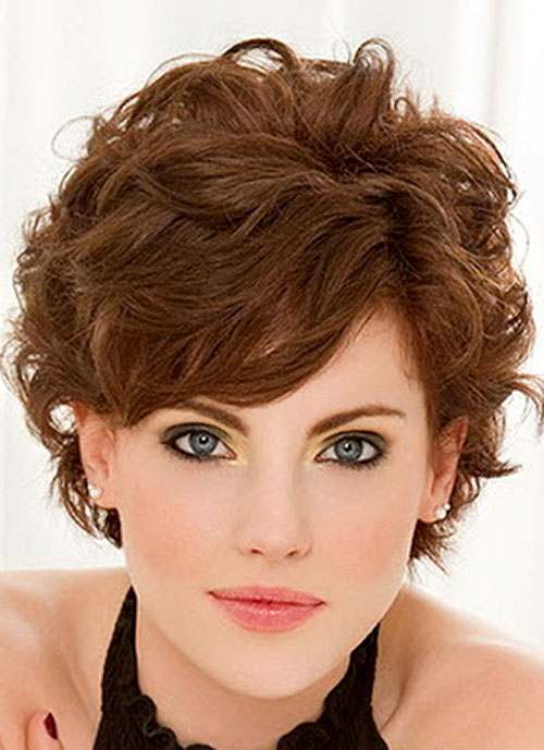 2014 Short Haircuts with Bangs for Wavy Hair