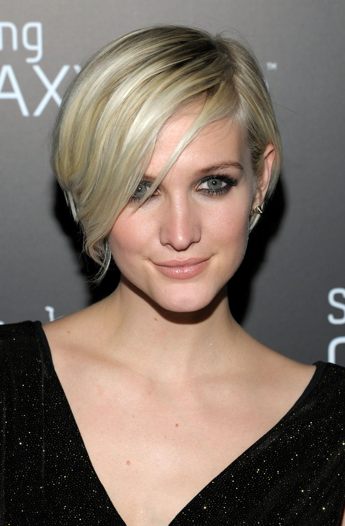 Short, Chic, Blonde, Deep Side Part Haircut with Bangs ...