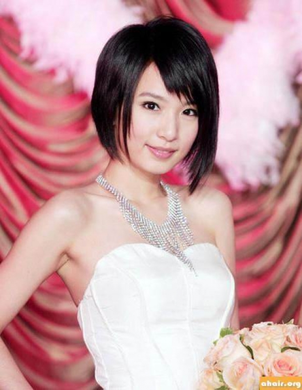 Asian Short Hairstyles With Side Swept Bangs