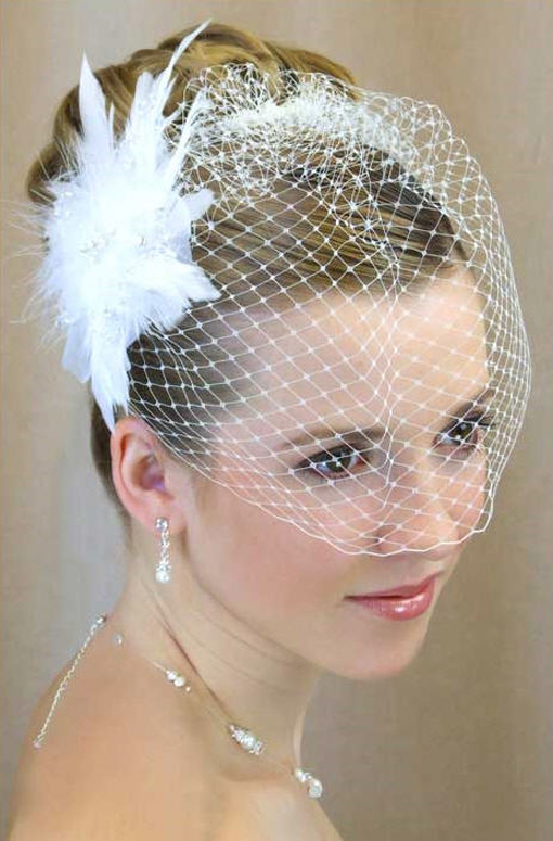 Short Wedding Hairstyles with Birdcage Veil