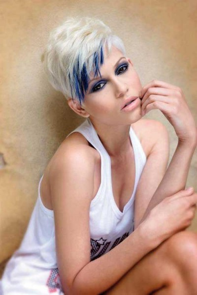 Blonde and blue Color Ideas for Short Hair