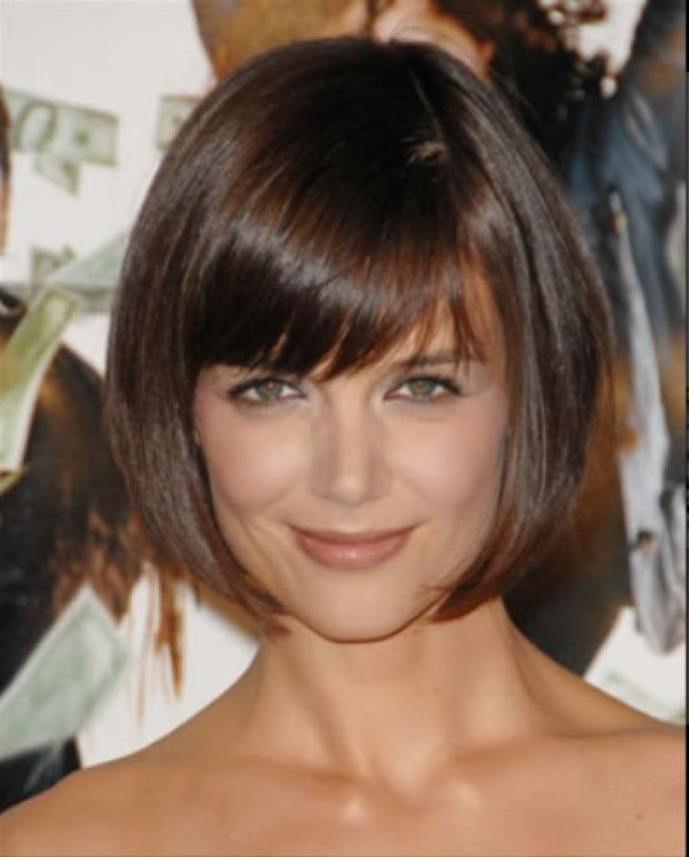 Katie Holmes Inverted Bob Hairstyles For Fine Hair