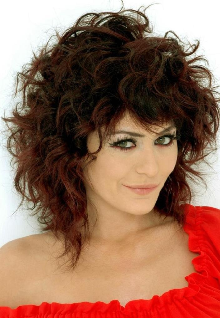 Medium Length Curly Shag Hairstyles