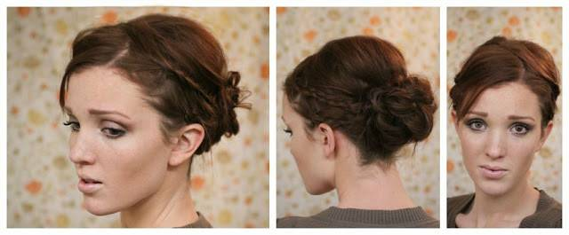 Side Braided Bun for Short Hair
