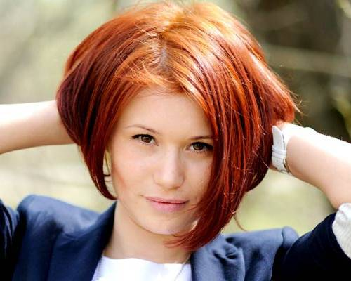 Short Stacked Bob for Red Hair