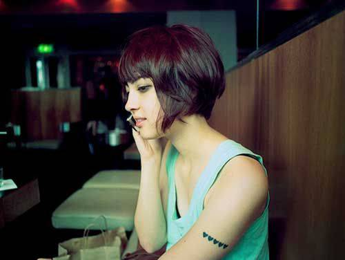 Short Hair With Bangs for Cute Women