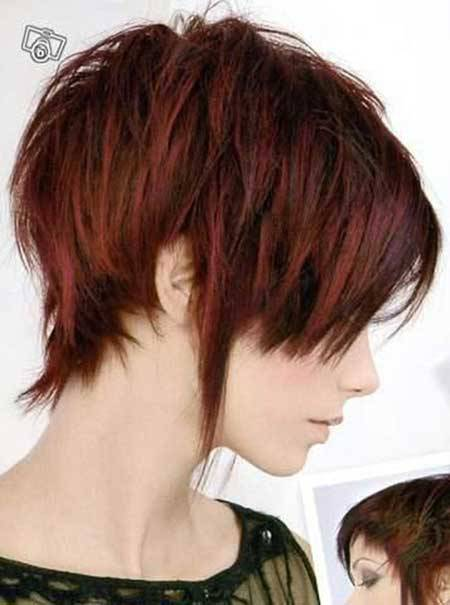 New Short Hairstyles and Highlights Cherry-Red-Hair-with-Ash-Brown-Highlights