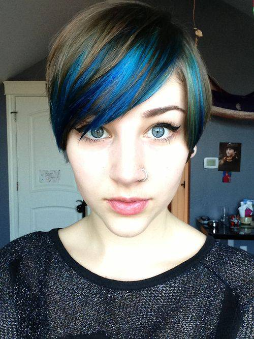 Short Blonde with blue highlights