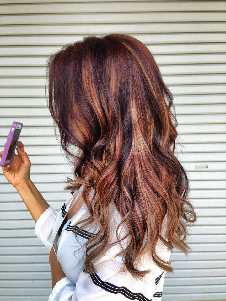 Cute Brown Hair with Highlights dark-brown-hair-with-blonde-and-red-highlights