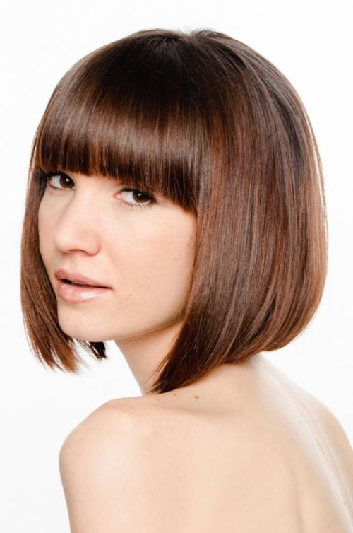 short angled bob hairstyles with bangs