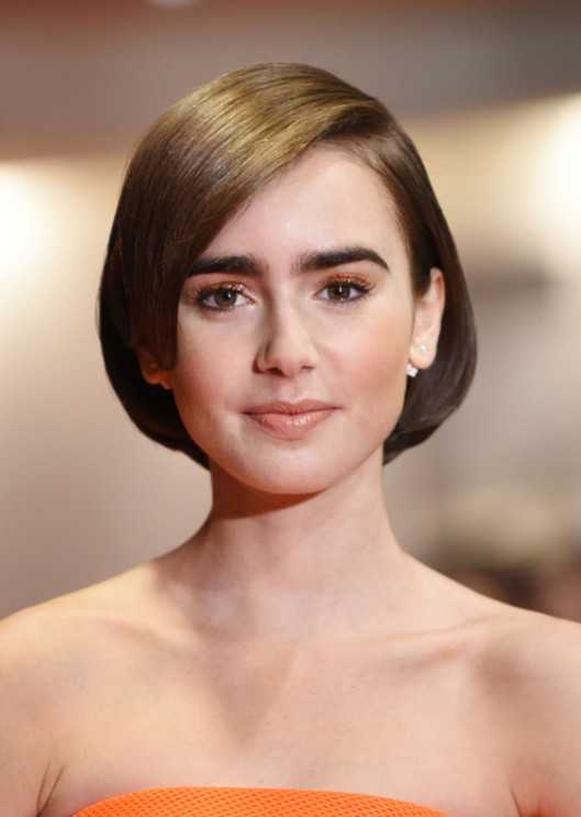 Short Bob Hairstyles 2015 for Women Lily-Collins-with-Short-Bob-Haircut