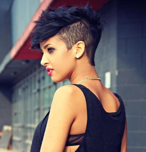 funky short black hairstyle