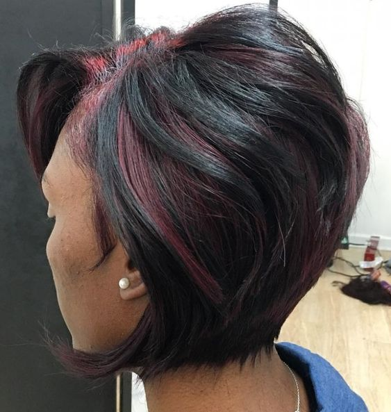 Short Stacked Bob Hairstyle for African American Women with Straight Hair 2