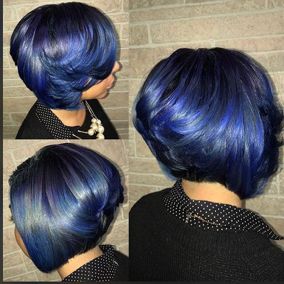 Short Stacked Bob Hairstyle for African American Women with Straight Hair 4