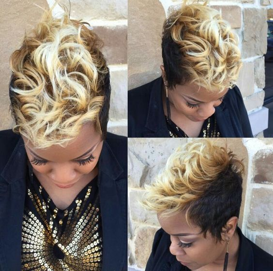 Curly Spike Hairstyle for African American Women 7