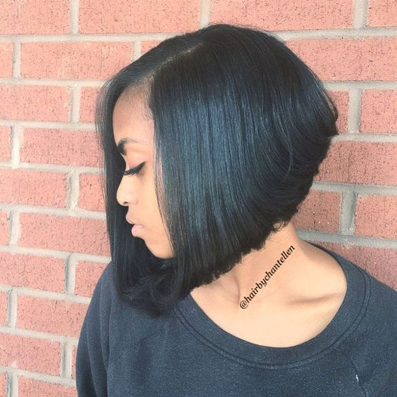 Short Stacked Bob Hairstyle for African American Women with Straight Hair 3
