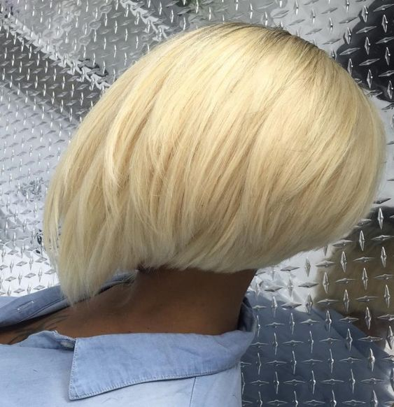 Short Stacked Bob Hairstyle for African American Women with Straight Hair 6