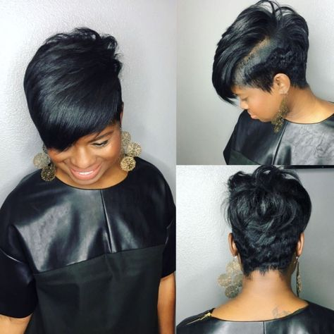 Side-Swept Pixie Haircut for Black Women 10