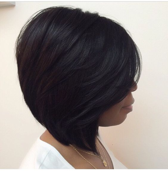 Short Stacked Bob Hairstyle for African American Women with Straight Hair 11
