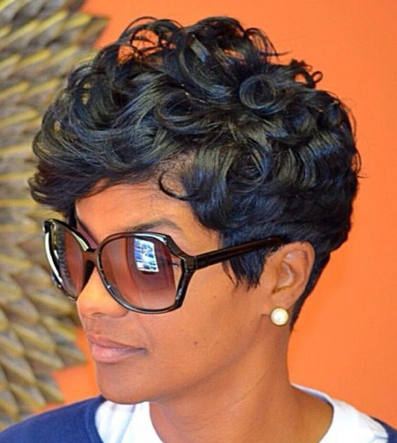 jet black curly pixie short hair collection