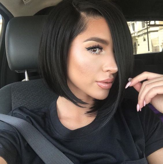 cute bob short hairstyle with black jet color