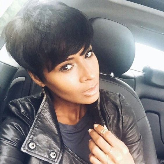 cute short hairstyle with black jet color