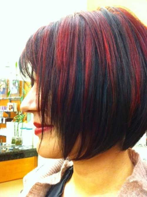 Bob Hair Cut Burgundy Highlight Style 4
