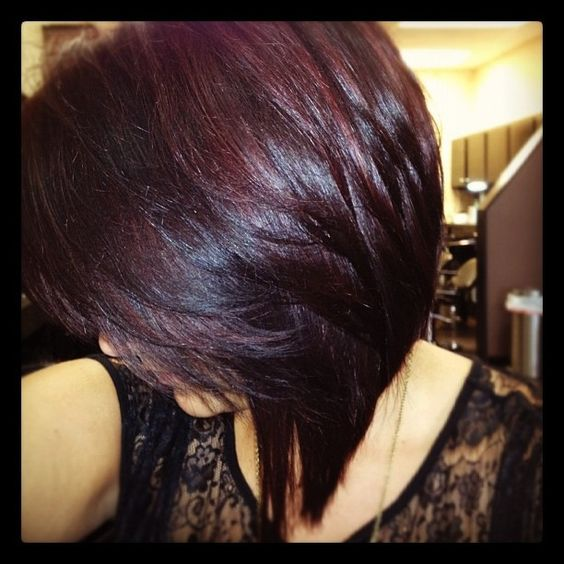 burgundy highlight in bob hairstyle