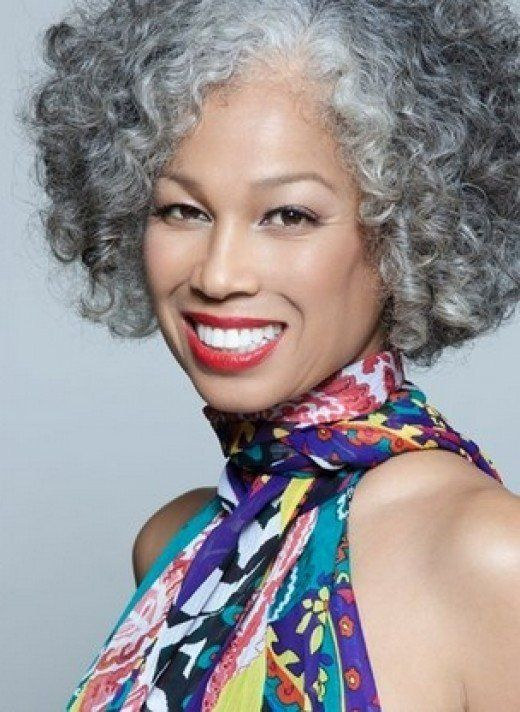 curly bob hairstyles with grey highlights for women over 60