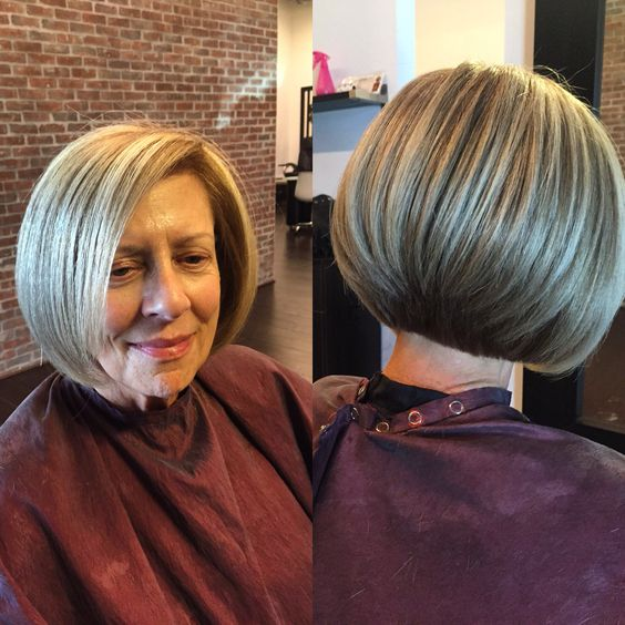 layered graduate bob for women over 50