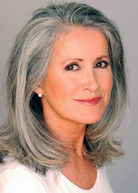 older women long crop hairstyle