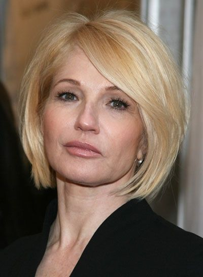 sleek rounded bob hair cut for older women with blonde hair