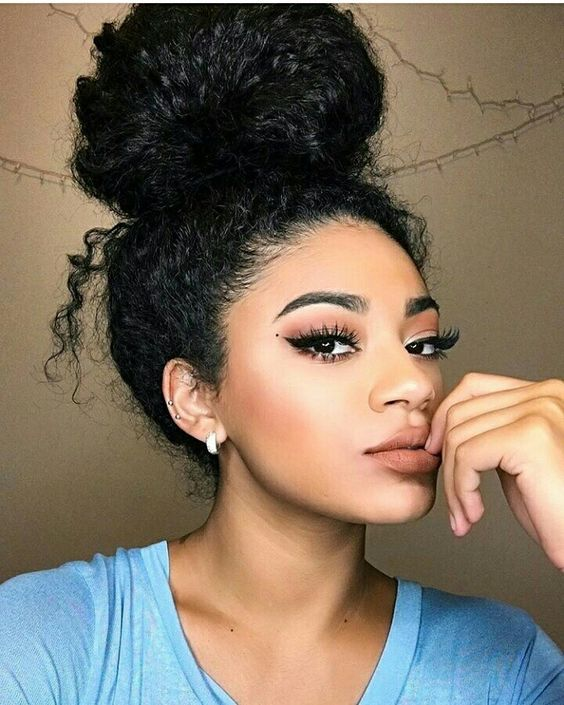 Natural Curly Messy Bun 6 Short Hairstyles 2018