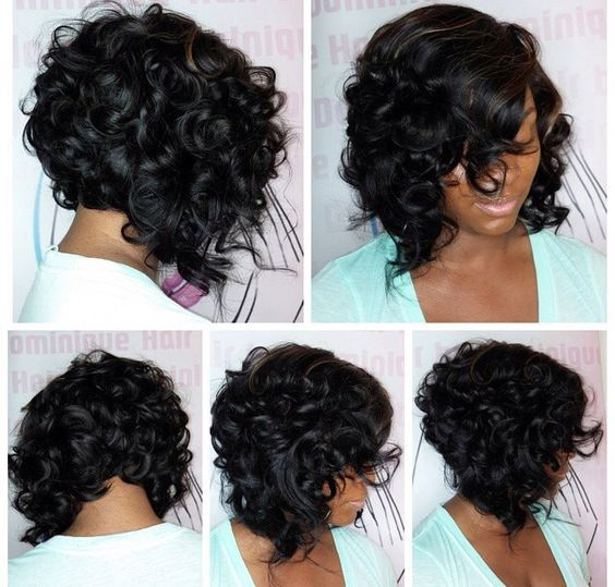 black hair curly bob on african american women