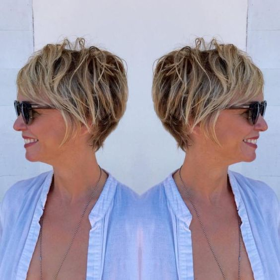 look younger with blonde pixie hair and glasses
