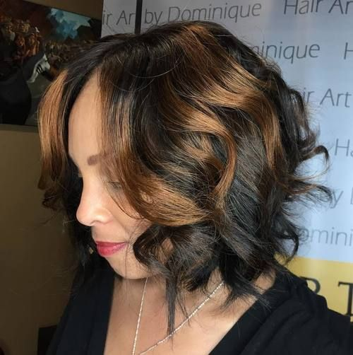 Cute African American Bob Hairstyles in 2018 Black_Bob_Caramel_Highlights_8