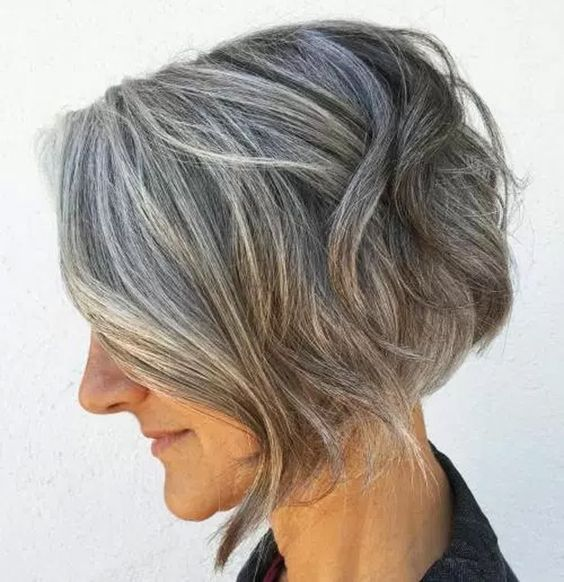angled wavy short hair for women over 50