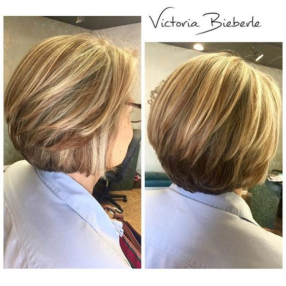 beautiful hairstyle for older women [short stacked bob]