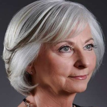 beautiful short layered bob with bangs for women over 50