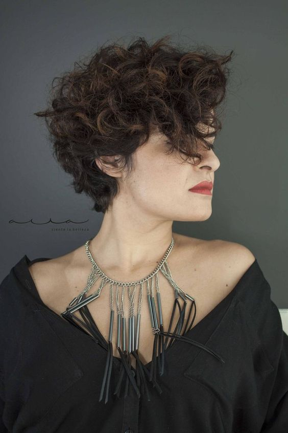 pretty curly pixie for women over 50