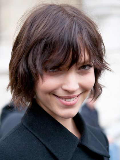 razored bob hairstyles with uneven bangs for women with short hair