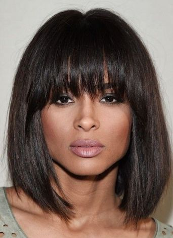 shaggy bangs hairstyle for black women