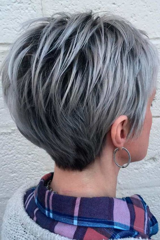 back look of silvery gray bob short hair