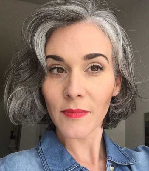 wavy gray bob hairstyles with bangs for women over fifty