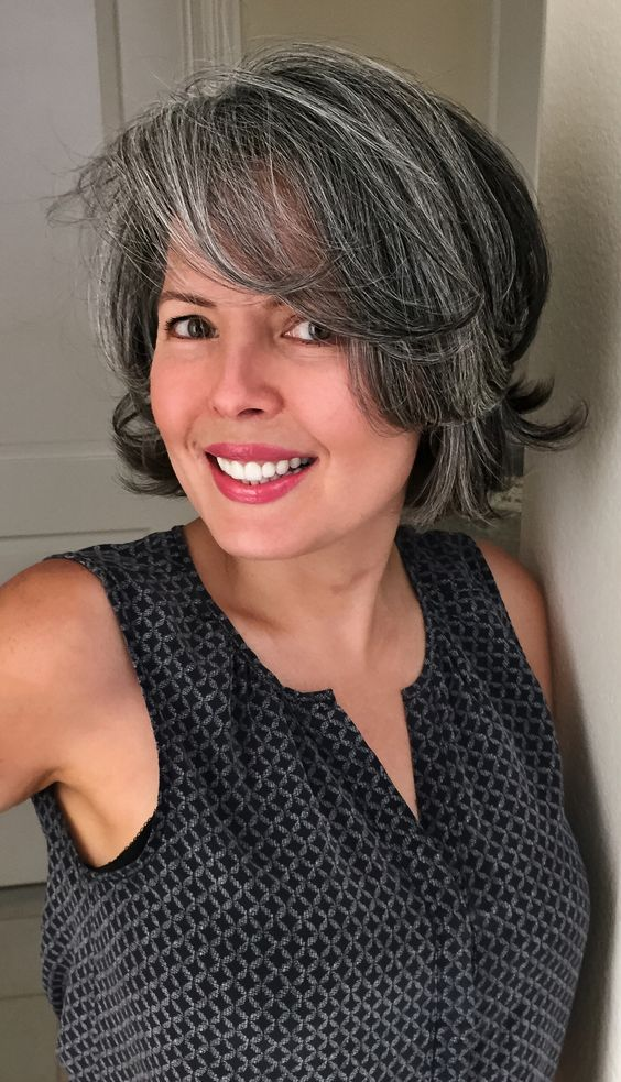 wavy gray bob hairstyles with bangs for women over 50