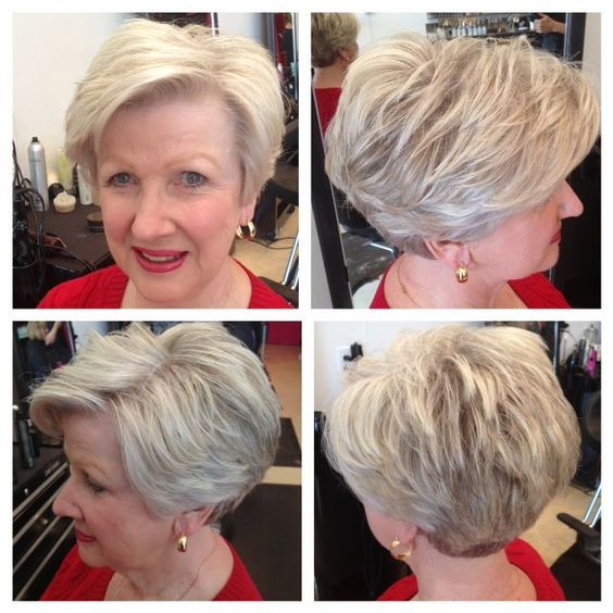 angled wedge haircut that looks best with older women