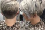 Beautiful Short Stacked Pixie Hairstyle With Silver Color
