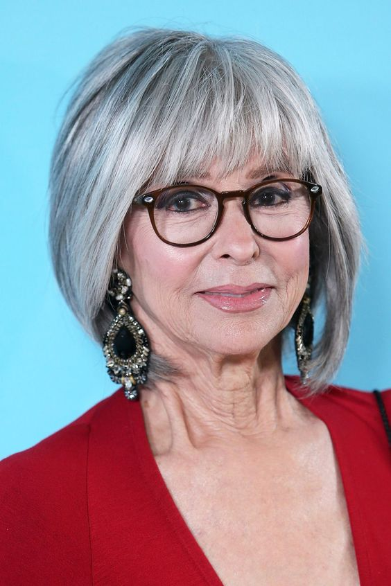 chin length bob hairstyle for women over 60 with glasses